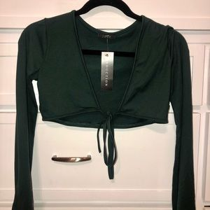 Army green tied crop top